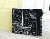 Vegan Wallet for Summer, Slim Cotton Wallet, Preppy Navy Blue with Ships, Boyfriend Gift, Nautical Wallet, gift for boaters