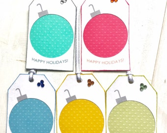 5 Swiss Dot Christmas Bulb Gift Tags, Two Layers, Silver Ribbon and Rhinestones