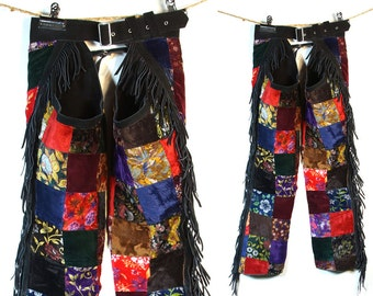 Patchwork Velvet Chaps / Vintage 1990s Fringed Suede & Printed Velvet Western Pants / Bohemian Rocker Leggings