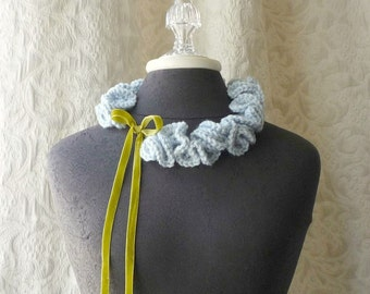 Keepsake Neck Ruffle 002 - Hand Crocheted Scarflette - Powder Blue