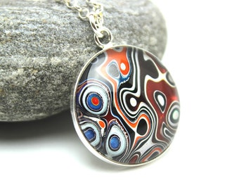 Harley Davidson Fordite Necklace Swirled Recycled Vintage Auto Paint Jewelry Red Orange Blue Sterling Silver Round Medallion Under Glass