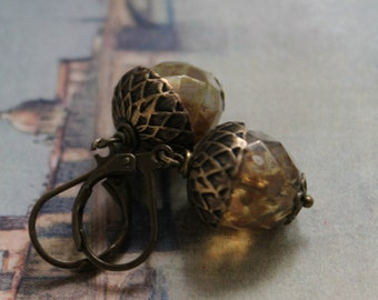 Acorn Earrings, Brass and Czech Glass Beads, Woodland, Earthy Autumn, Boxing Day Sale