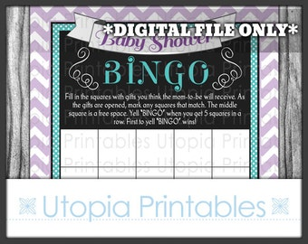Baby Shower Bingo Card Buggy Carriage Teal Purple Gray Chevron Theme Party Game Activities Digital Printable Grey Aqua Blue Turquoise