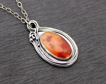 Carey Plume Agate and Sterling Silver Botanical Necklace Vine Pendant