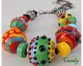 Candy Handmade Lampwork, Onyx and Silver Necklace