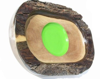 A Walnut plater hand carved with live edge abstract green circle in the middle