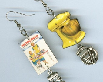 Cookbook Earrings - Vintage Baking Mixer Cupcakes - Bakers chef cooks gift - Asymmetrical mismatched earring Designs by Annette