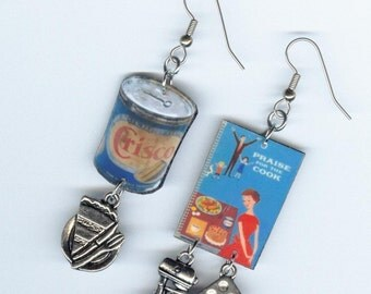 Crisco Earrings - Vintage Cookbook Cupcakes Bakers - Asymmetrical earring Designs by Annette - bakers cook chefs gift jewelry