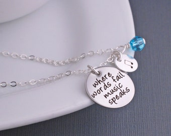 Music Necklace, Where Words Fail Music Speaks Jewelry, Music Note Necklace Gift