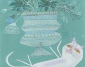 mod cat art - Carmen also enjoys flowers. Limited Edition 8.5x11 print by Matte Stephens.