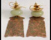 JAPANESE PAGODAS - Handforged Raw Silk Textured Copper - Jade - Bronze - Dramatic Statement Earrings