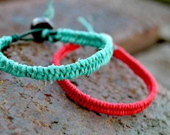 Woven Friendship Hemp Bracelet Duo