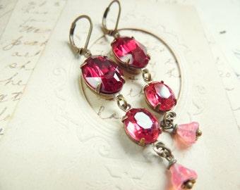 """pink rhinestone earrings, swarovski earrings, assemblage earrings, pink dangle earrings, handmade earrings, boho earrings """"Vin Rosé"""""""