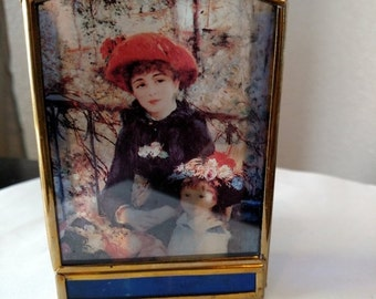 Vintage Stained Glass Brass Candle Votive Holder Pierre August Renoir Two Sisters Painting Candleholder Window