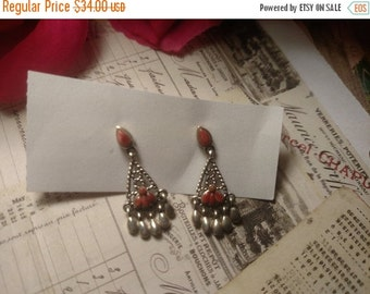 Boho Fringe Sterling Silver Estate Pierced Post Spiny Oyster Stone Earrings 1 and 1/4 inches Long Dangles