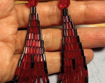 Moulin Rouge Vintage Mid Century Runway Long Chandelier Shoulder Duster Tribal Glass Bead Earrings Red Black