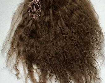 Tibetan Lamb Hair - Light Brown - S piece LBR - For Art Dolls OOAK