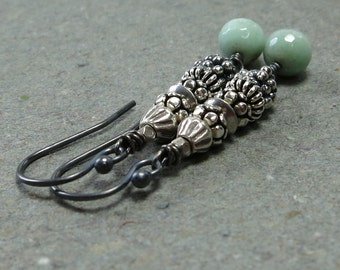 Chrysoprase Earrings Sterling Silver Tribal Long Oxidized Mint Green Earrings