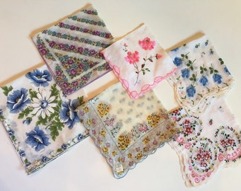 Vintage hankies, set of 6