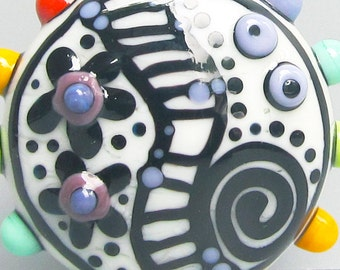 Graffiti Puffy Patty--Handmade Lampwork Bead
