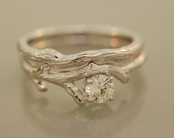 Bud Branch Set ,14karat white gold, 4 mm moissanite, engagement ring, twig moissanite ring,