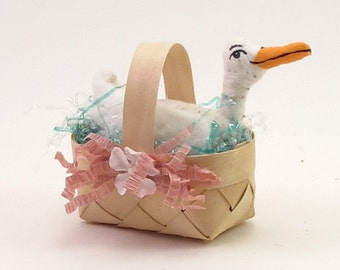 Vintage Inspired Spun Cotton Duck Basket Figure OOAK