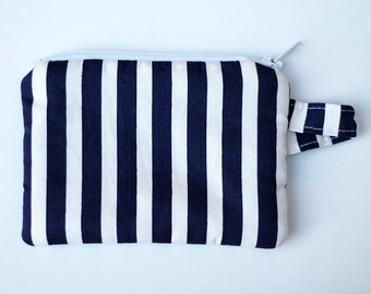 Navy Blue Nautical Striped fabric credit card zipper pouch. Cotton coin purse. Pocket wallet, Ready To Ship, mom bag, cash and change bag