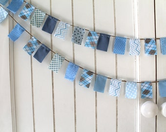 Birthday Blue Fabric Flag garland. Everyday Banner. Photo Prop on jute / twine. scrappy baby boy shower blue and gray to match cake bunting