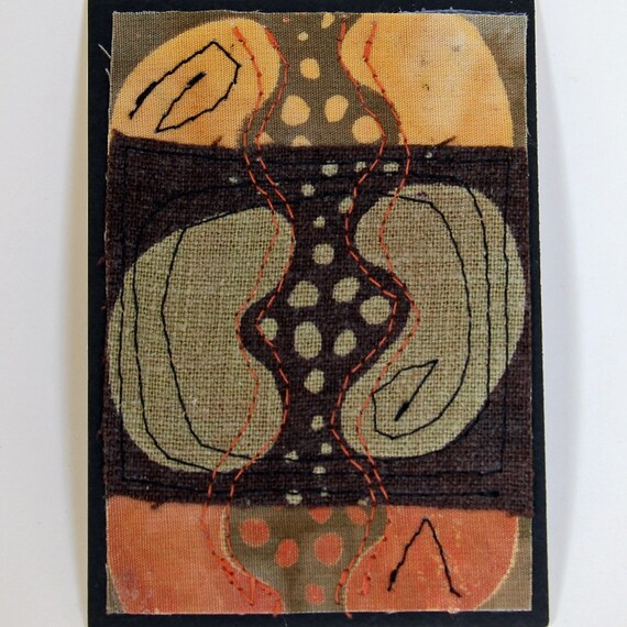 Original fiber art ACEO, miniature art, fabric ACEO, fiber artist, seed design, multiply, stitched art, screenprinted, hand dyed textile
