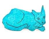decorative pillow, cat pillow, animal pillow, big relaxed cat shaped turquoise batik fabric