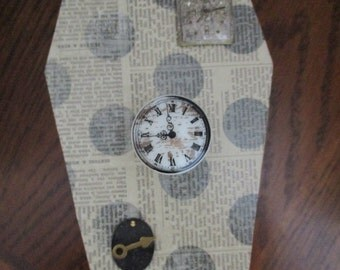 Steampunk Gears Clock Faces and Skulls Coffin Watch Box