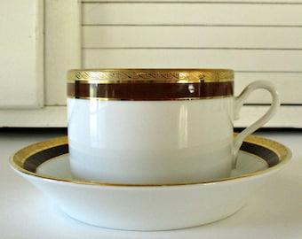 Richard Ginori Coffee Cup and Saucer, Palermo Brown Pattern