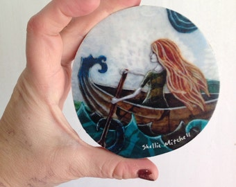 She never looked back, one of a kind Mounted Print, on round wood slice