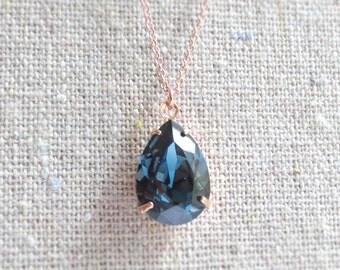 Swarovski Dark Navy Blue Teardrop Crystal Rose Gold Necklace, Simple Bridal Jewelry, Wedding Necklace, Bridesmaids Gifts, Tear Pendant