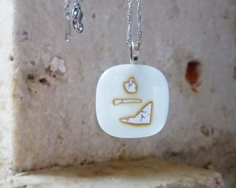 Necklace, Fused Glass Pendant, White and Silver Necklace, Handmade pendant