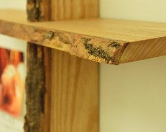 No. 47 - Two Level Black Locust Live Edge Shelf