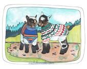 Baby Goat Art Print - Goat Illustration - Goats in Sweaters - Goat Illustration - Art Print - Wall Decor - Home Art - Baby Goats in Sweaters