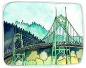 St Johns Bridge - Portland Oregon - St Johns Bridge Print - Portland Art - Print of Watercolor - Bridge Art - St Johns Bridge Print