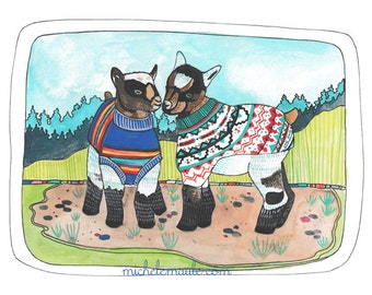 Baby Goat Art Print - Goat Illustration - Goats in Sweaters - Goat Illustration - Art Print - Wall Decor - Home Art - Baby Goats in Sweaters