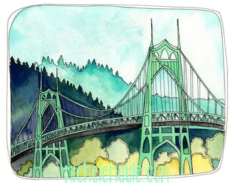 St Johns Bridge - Portland Oregon - St Johns Bridge Print - Portland Art - Print of Watercolor - Bridge Art - St Johns Bridge Print