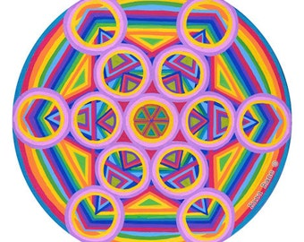 Cosmic Circle, Metatrons Cube, Window cling, Sun catcher, Sacred Geometry, Psychedelic, Mystical Rainbow, Boho, Ecofriendly, Best gift ever