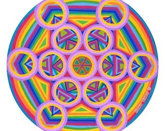 Cosmic Circle, Metatrons Cube, Sacred Geometry, Mandala, Rainbow, Psychedelic, Visionary, Mystical, Suncatcher, Glass Art, Ecofriendly,