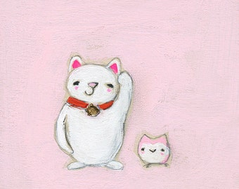 lucky cat & the lucky owl | print