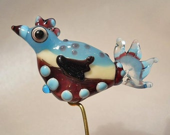 Purple & Blue bird glass bead pendant handmade lampwork, 'funky chicken' Lamp work focal, orphan bead, art bead jewelry supplies, glassbead