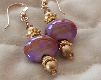 Lampwork Calico Coin Gold Filled Earrings Purple Passion