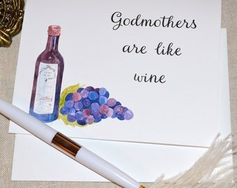 godmother birthday card, wine and grapes, from adult- single card