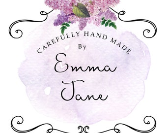 Pretty pre-made logo with Lilac  flowers customised with your own name