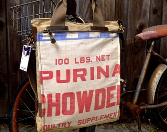 Purina Chowder - Illinois - Americana Vintage Seed Feed Sack Book Tote W- OOAK Canvas & Leather Tote .. Selina Vaughan
