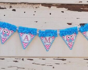 Girl Owl High Chair Banner- I am 1- 1st Birthday