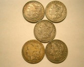 Set of 5 Morgan Dollar Silver Dollars, Vintage Coins 1800s One Dollar Coins